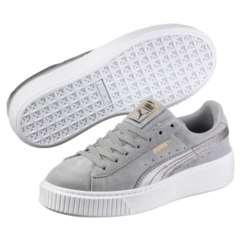 020a24218316c7 Puma Suede Platform Safari Sneaker Damen Freizeitschuhe grau Quarry ...